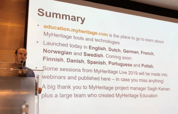 MyHeritage Live education summary