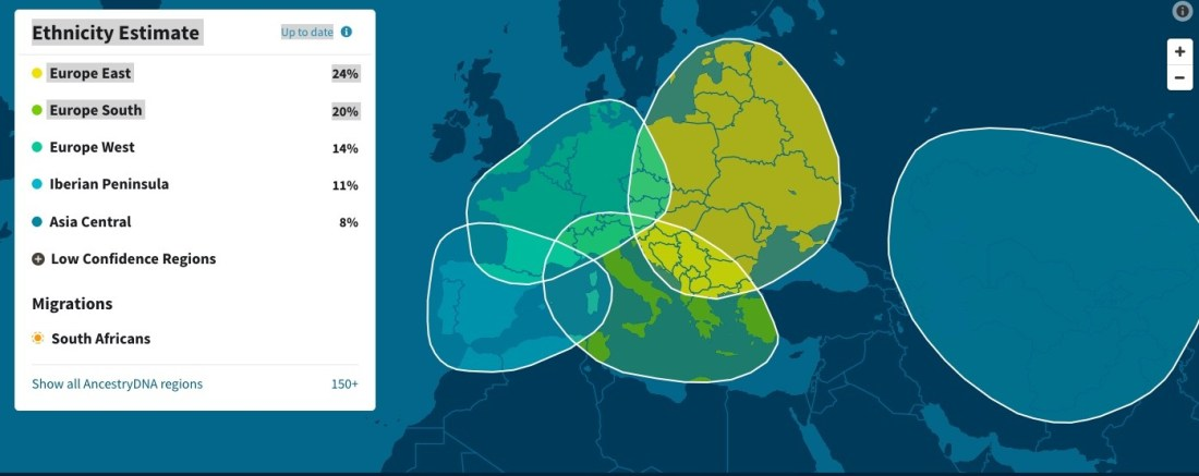 Mes résultats ethniques sur Ancestry
