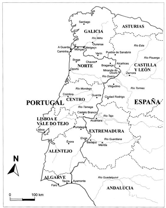Carte du Portugal et d'une partie de l'Espagne. Au nord du Portugal, la Galice.