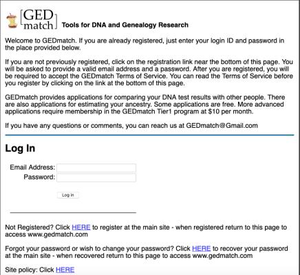 Page d'accueil de Gedmatch