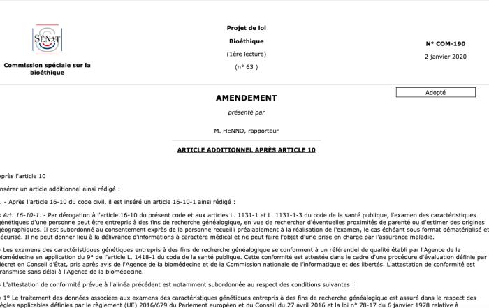 Amendement de la Commission de bioethique autorisant les tests de généalogie génétique en France