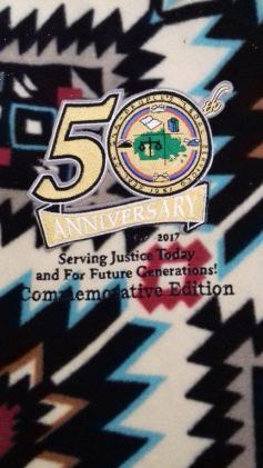 Fleece throw 50th logo close up