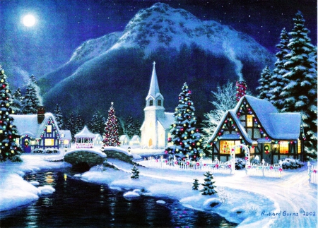 Xmas Village Other Amp Abstract Background Wallpapers On