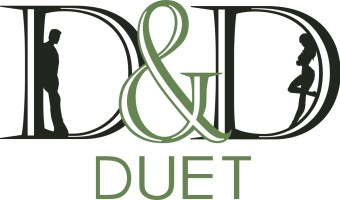 D&D Duet Text with man and woman silhouetted in the letters