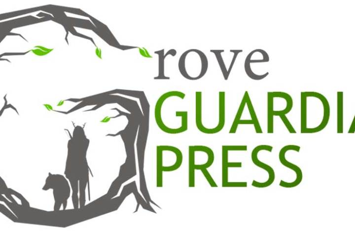 Large gray-brown G made to look like a tree with a druid woman and wolf beside her. The rest of the word Grove is in brown, followed by Guardian Press in green; the logo for Grove Guardian Press