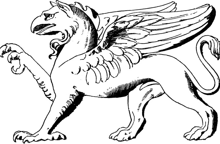 Sketch of a vintage griffon, with front claw extended
