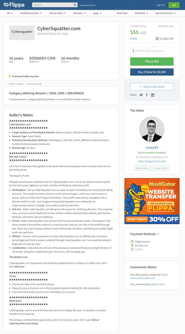 CyberSquatter.com — Domain Name For Sale on Flippa  Category defining domain    DOB  1999    BIN BONUS
