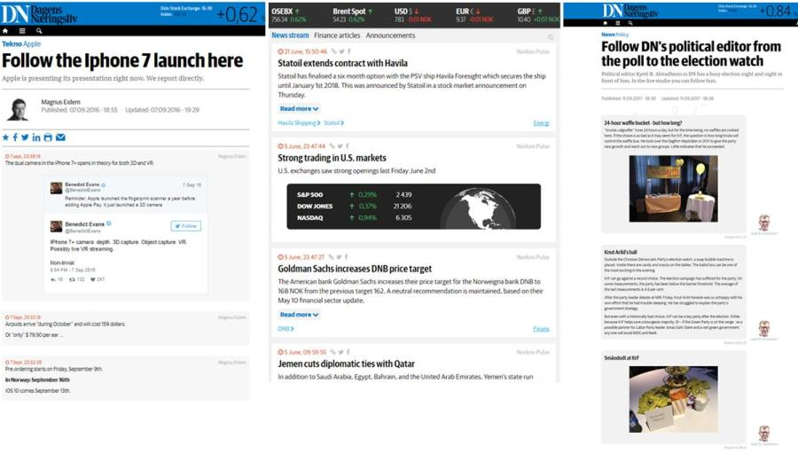 Examples of different live blog designs