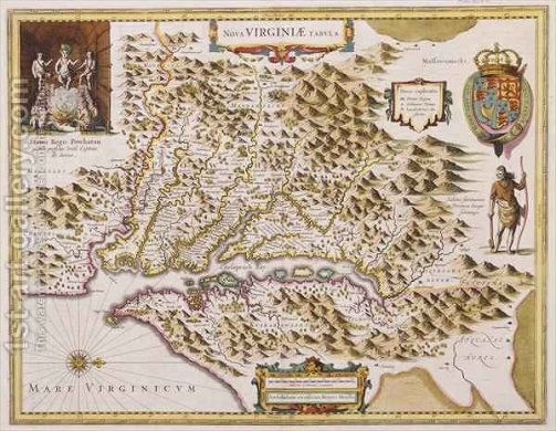 John Smiths Map of Virginia Hendrik I Hondius Reproduction   1st Art     John Smiths Map of Virginia by Hendrik I Hondius   Reproduction Oil Painting