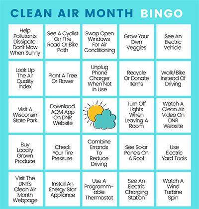 Clean Air Month BINGO Card