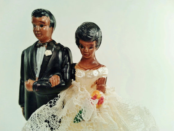 11 Vintage Wedding Cake Toppers   Woman Getting Married Vintage Wedding Cake Topper African American Bride and Groom  by hopsack    10