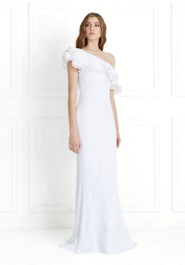 Rachel Zoe Lizette One-Shoulder Ruffled Fluid Sequin Gown ($625)