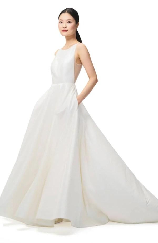 JENNY BY JENNY YOO Ashton Plunge Back A-Line Gown ($1,100)