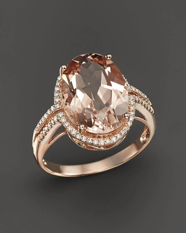 Bloomingdale's Morganite and Diamond Oval Statement Ring in 14K Rose Gold ($3,000)