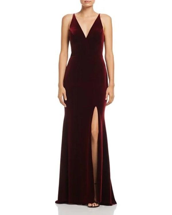 AQUA Velvet Sleeveless Gown