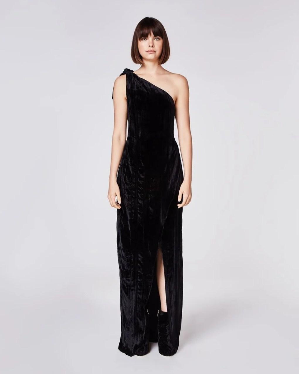 Nicole Miller Crinkled Velvet One Shoulder Dress