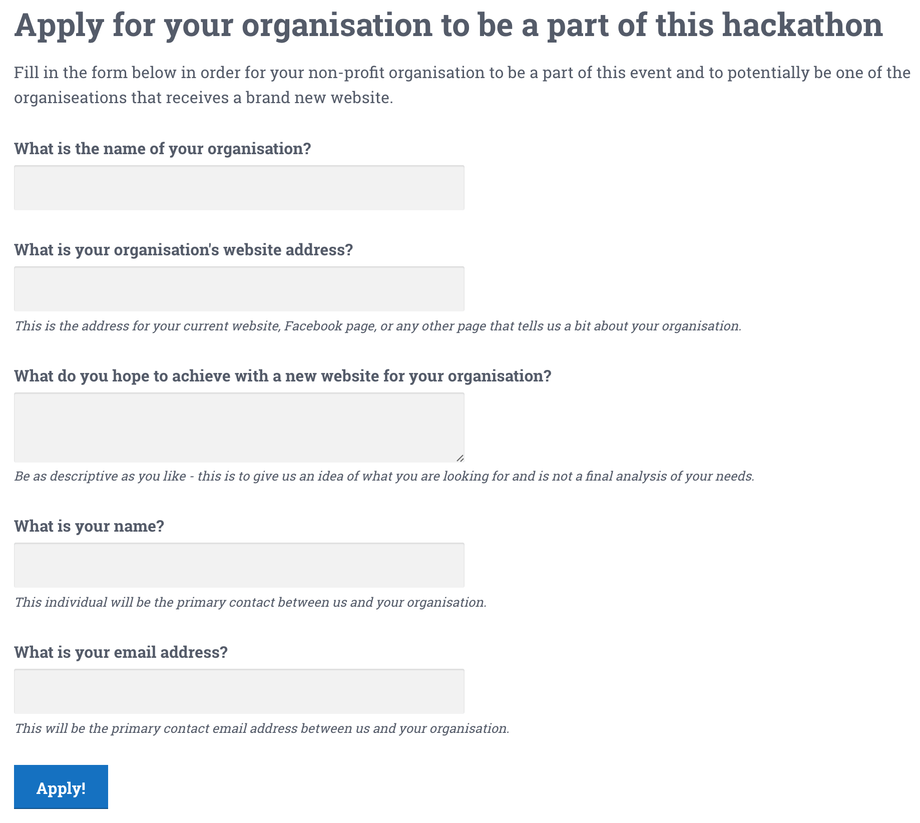 The non-profit application form - do_action: Using WordPress for good