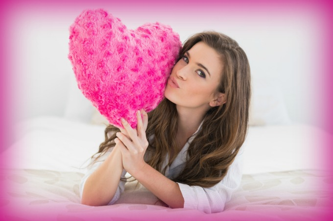 Woman with Pink Heart