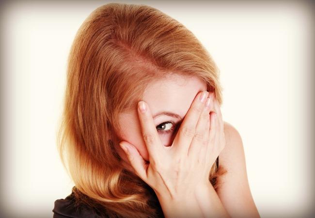 Woman Peeking thru eyes
