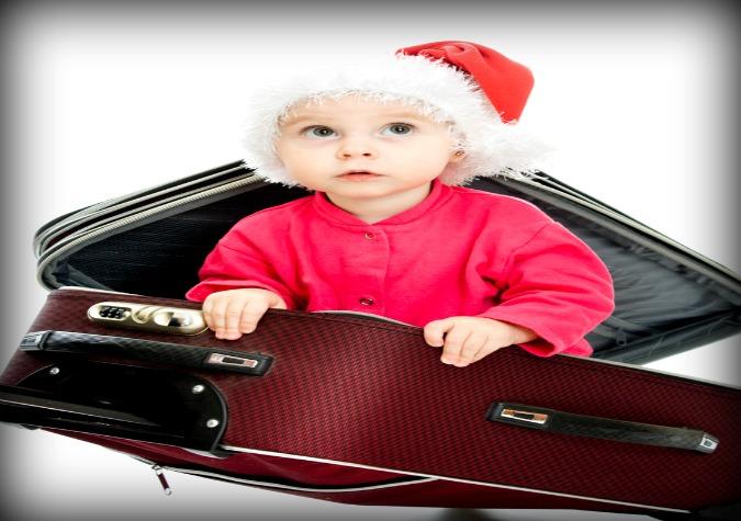 Santa Baby in Luggage 1