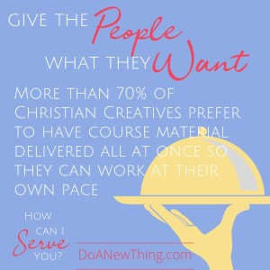 More than 70% of Christian Creatives prefer to have course material delivered all at once so they can work at their own pace