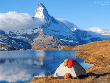 Tent near Matterhorn during early morning with relfection in Ste