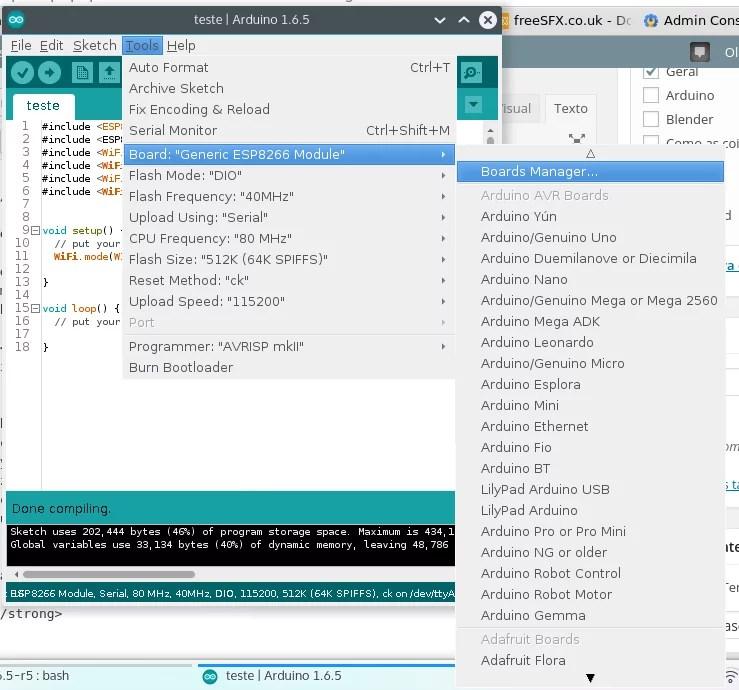 Programar esp pela interface do arduino bit ao byte