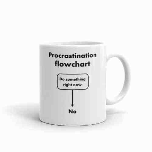 Procrastination Flowchart Mug (11 oz right)