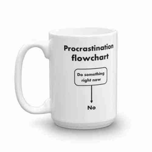 Procrastination Flowchart Mug (15 oz left)
