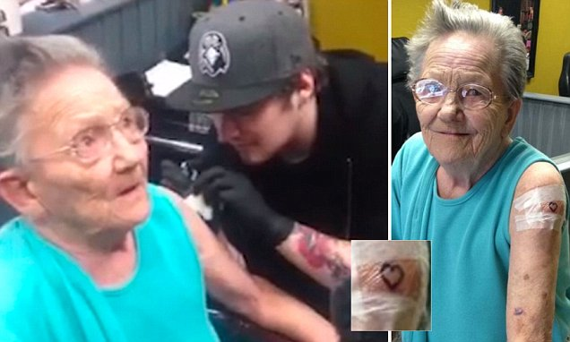 PIC FROM MERCURY PRESS (PICTURED: Sadie Sellers, 79, who escaped her care home to get a tattoo on her arm) A rebellious great-grandmother left her son stunned when he discovered she was missing from her care home having fled unannounced to get her first tattoo ñ at the age of 79. Tony Sellers said he baffled when he arrived for his daily visit to see mum Sadie, only to discover an empty wheelchair in her room. But the thrill-seeking granny-of-11 had nipped out with her zimmer frame to get inked alongside her granddaughter Samantha in Londonderry, Northern Ireland. And when Sadie was asked what her family would think of the tattoo, the retired civil servant left Studio Seventy-Six customers stunned when she retorted ëI don't f***ing careí. SEE MERCURY COPY