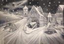 Artysta tworzy zimowe obrazy używając do tego sztucznego śniegu