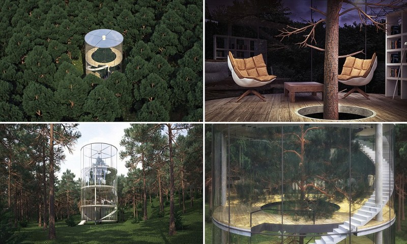 2.jpg ARTICLE MUST REF: http://www.amasow.com/ Russia-based design studio A. Masow has designed a stylish tree house that is inspired by the architecture of Apple stores.  Located in the mountains of Almaty in Kazakhstan, the tree house was built around a 40-foot fir tree with a cylindrical structure, and is three-story high.