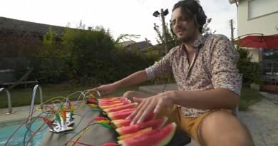 Niecodzienny instrument. Francuz gra na arbuzie i kiwi