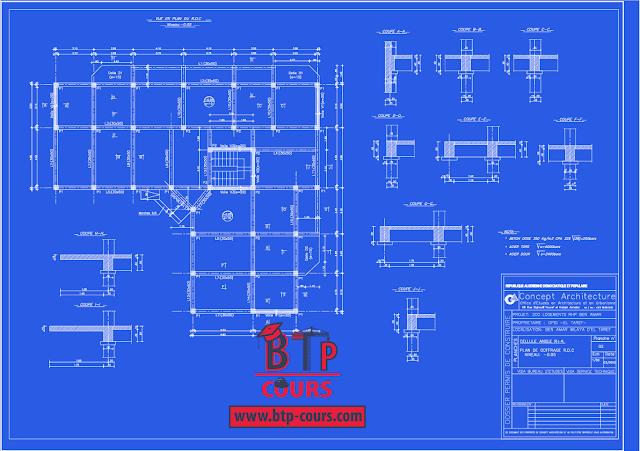 plan B.A coffrage ferraillage sur www.btp-cours.com