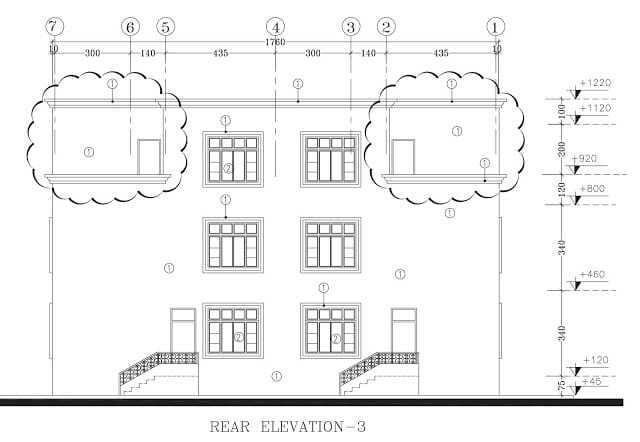 plan, façade, arriéré