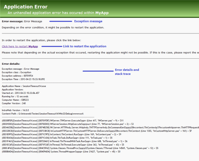 Standard error message page