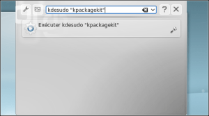 "Enter the instruction as ""gksudo"" program name """" (eg ""kdesudo"" kpackagekit """")."