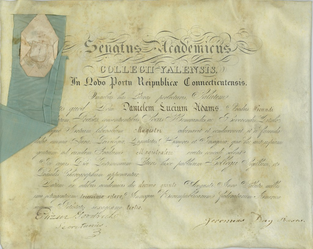 Doc Adams' Yale Diploma (Source: Manuscripts and Archives, Yale University Library)