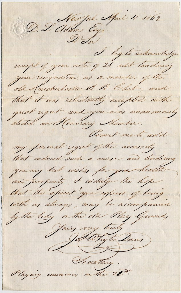 Letter from James Whyte Davis to D. L. Adams, Esq. dated April 4, 1862 [Source: Manuscripts and Archives, Yale University Library]