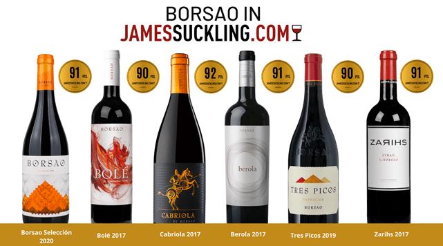 Bodegas Borsao recibe altas puntuaciones en James Suckling