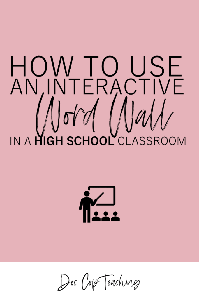A word wall is a great interactie tool in the ELA classroom to teach middle school and high school students vocabulary and literary terms. This post has ideas and activities that make a word wall effective in a Language Arts classroom. Plus, you can download a free template for a QR-Code word wall making it easy to create in your classroom!