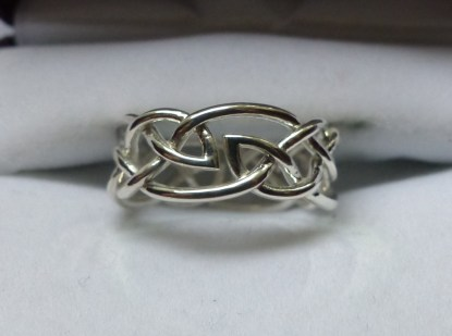 Double Leaf Celtic Knot Ring - Silver