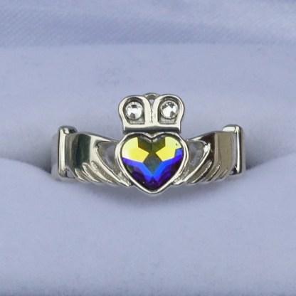 Aurora Borealis Crystal Claddagh Ring
