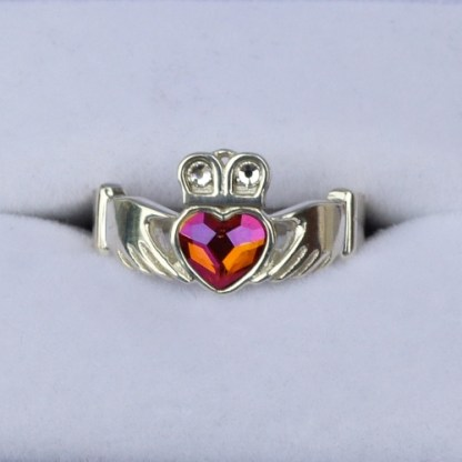 Astral Pink Crystal Claddagh Ring