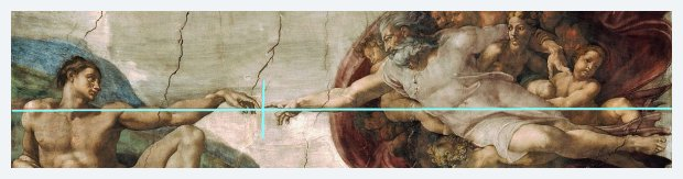 "Michelangelo's ""Creation of Adam"" in the Sistine Chapel The line from edge to edge divides into two golden ratio segments right where the two fingers meet. (Back up to ""Proportions"")"