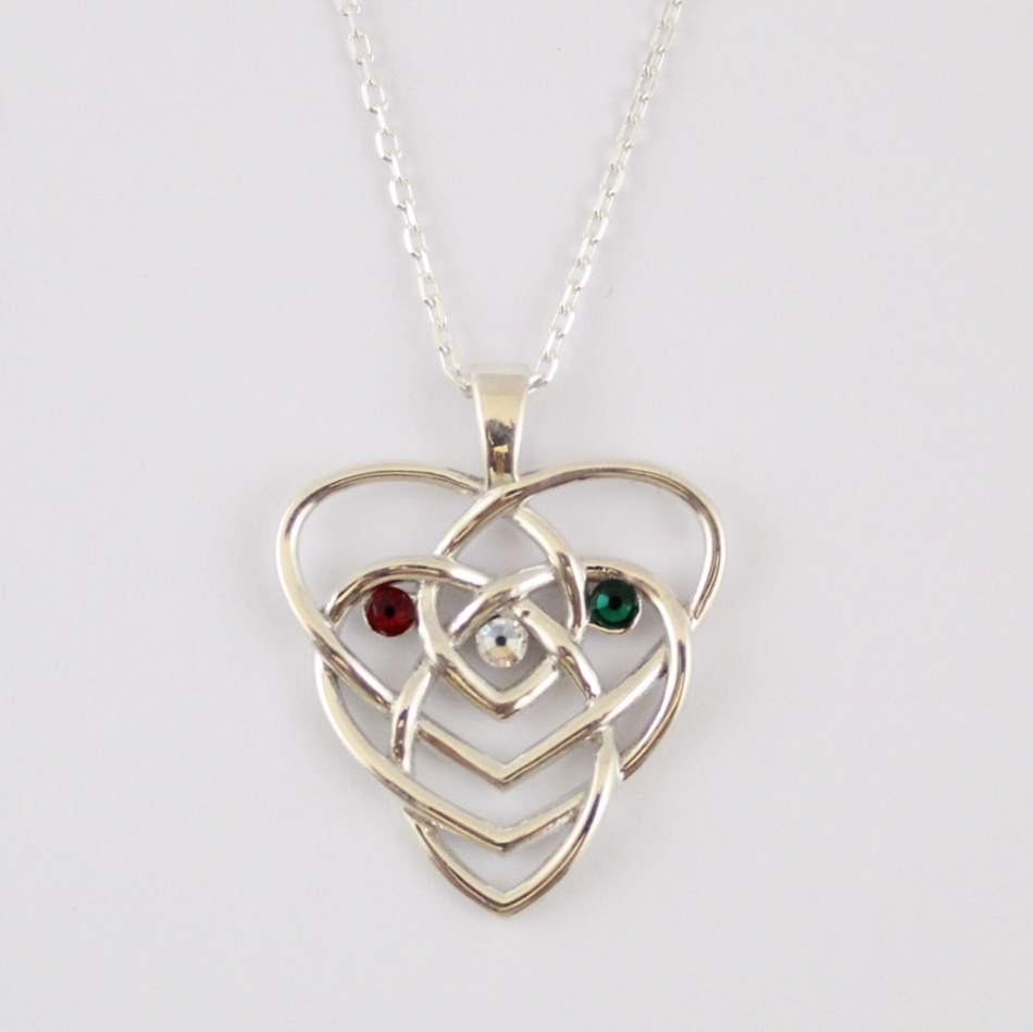 this pin hangs custom a three crystal stone celtic knot trinity pendant delightfully birthstone necklace on