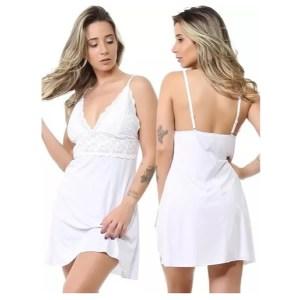 Conjunto Camisola Lisa Com Renda e Calcinha Luxo Sexy – Isa Lingerie – Braco – GG