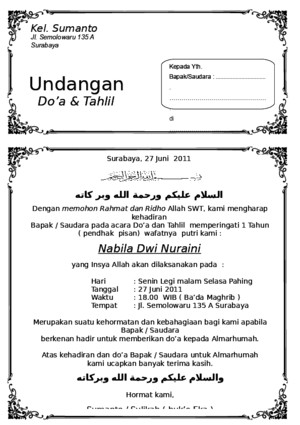 Undangan Tahlil Ms Word Download Documents