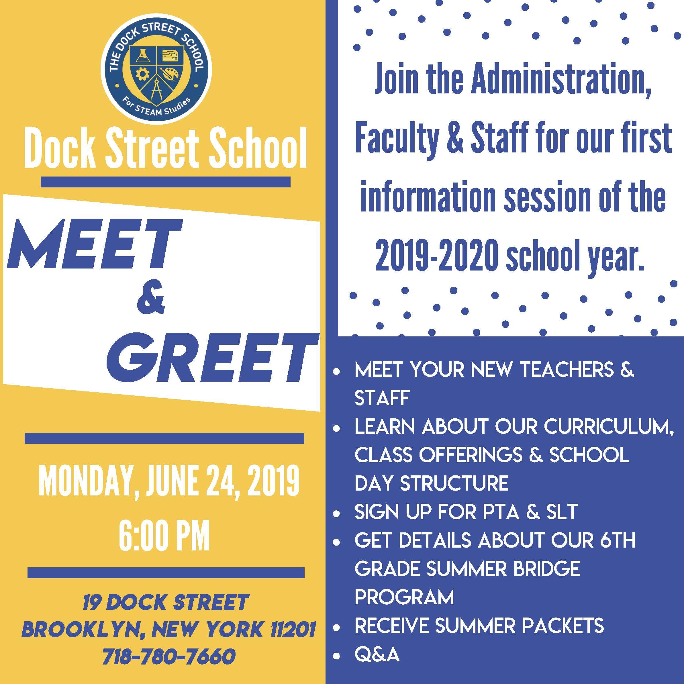 New Parent MEET & GREET – Dock Street School