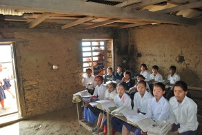 This is a typical kind of classroom used by students in remote villages in Nepal. It is these types of schools which the Gurkha Welfare Scheme works hard to support